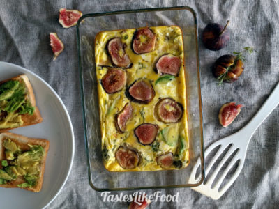 Rustic Frittata with Fig, Cheese and Avocado
